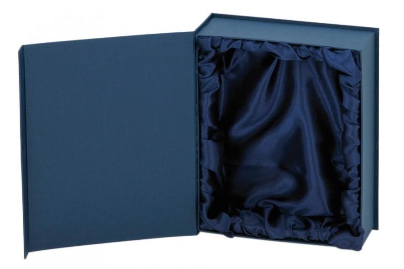 Dárková krabička na plakety vykládaná modrým saténem