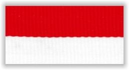 Stuha na medaile s karabinkou - červenobílá
