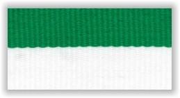 Stuha na medaile s karabinkou - zelenobílá