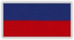 Stuha na medaile s karabinkou - modročervená