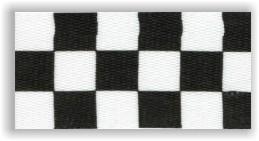 Stuha na medaile s karabinkou - černobílá šachovnice