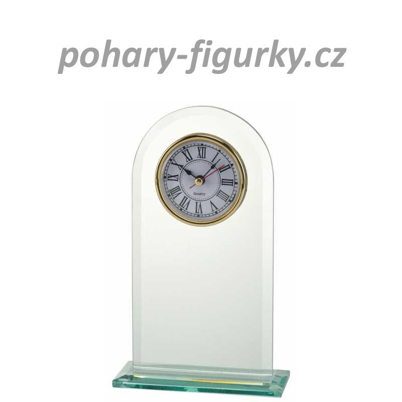 skleněná plaketa s hodinami W540